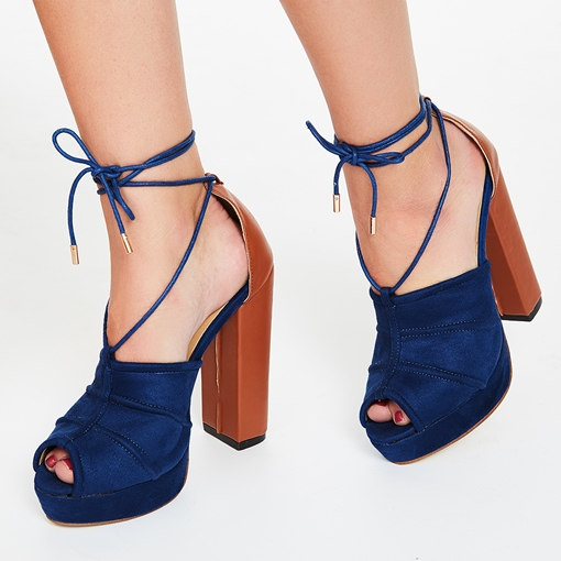 Suede Color Block Chunky Heel Open Toe Women's Sandals