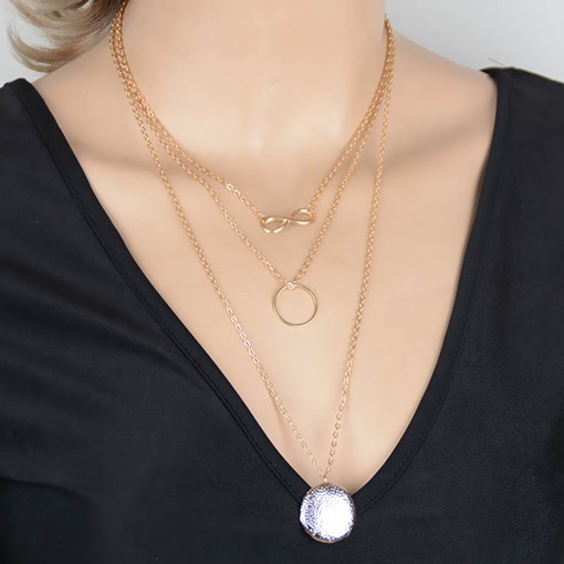 Metal Circle & Number Eight Multilayer Necklace