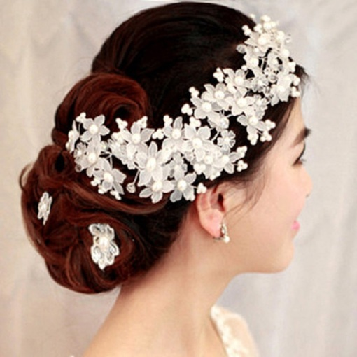 White Pearl Bridal Hair Flower