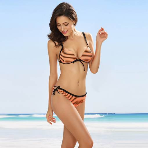 Simple Stripe Lace-Up Bikini Set