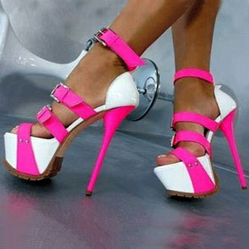 Color Block Stiletto Heel Platform Peep Toe Women's Sandals