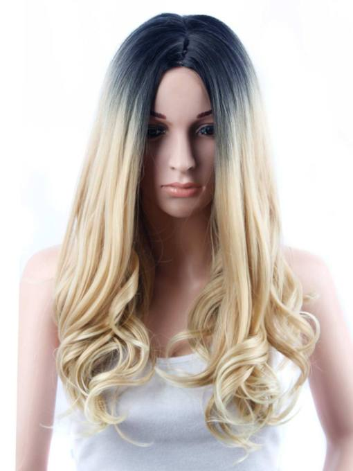 Dark Root Blonde Wavy Synthetic Hair Long Capless 24 Inches
