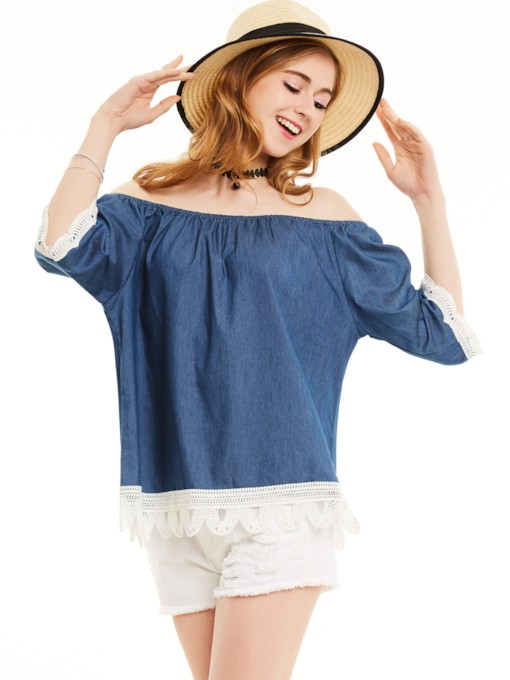 Off-The-Shoulder Half Sleeves Lace Patchwork Blouse