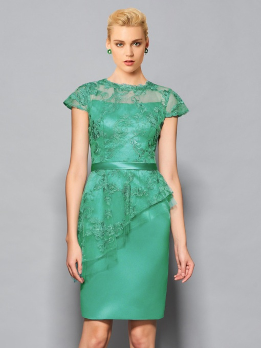 Column Appliques Jewel Lace Sashes Cocktail Dress