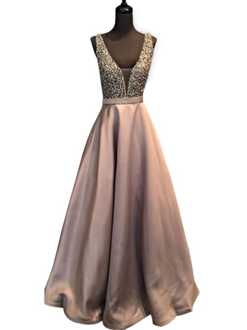 A-Line Beaded Sleeveless V-Neck Floor-Length Prom Dress