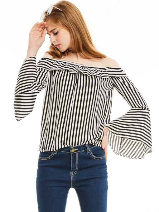 Slim Stripe Slash Neck Bell Sleeves Blouse
