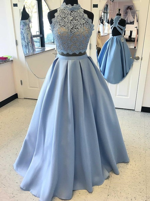 Lace A-Line Beaded High Neck Prom Dress