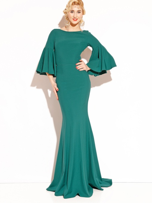 Mermaid Asymmetric Pleated Flare Sleeve Women's Maxi Dress