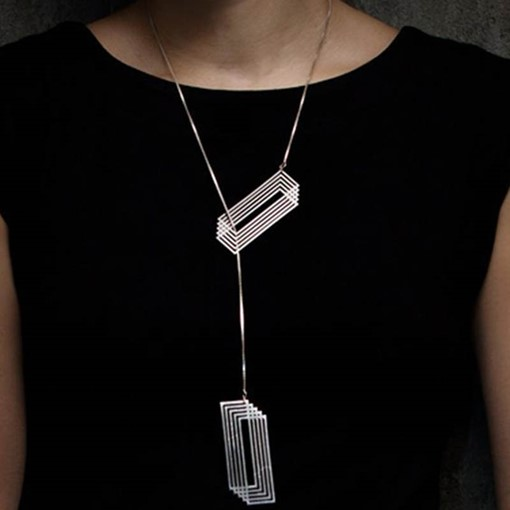 Stereoscopic Rectangle Pendant Long Alloy Necklace