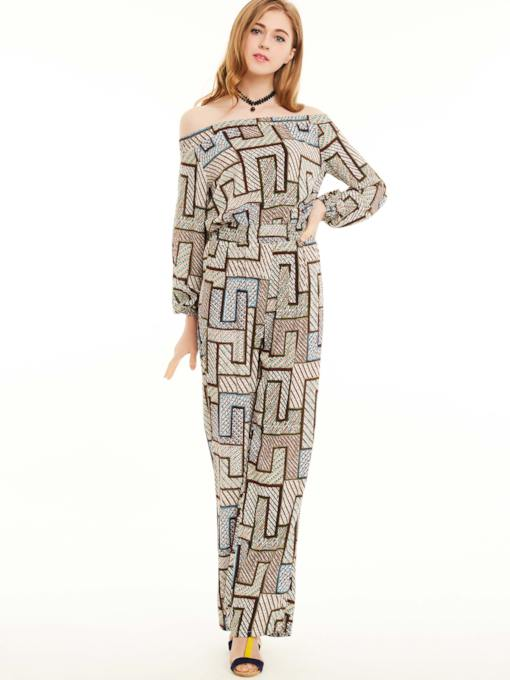 Color Block Geometric Off Shoulder Women's Jumpsuit