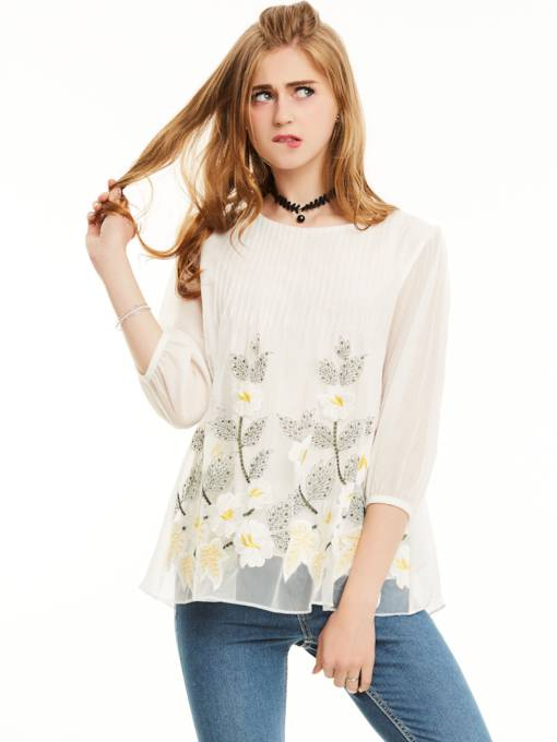 Lantern Sleeve Cartoon Embroidery Blouse