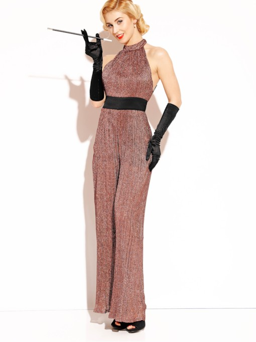 High-Waist Color Block Backless Women's Jumpsuit