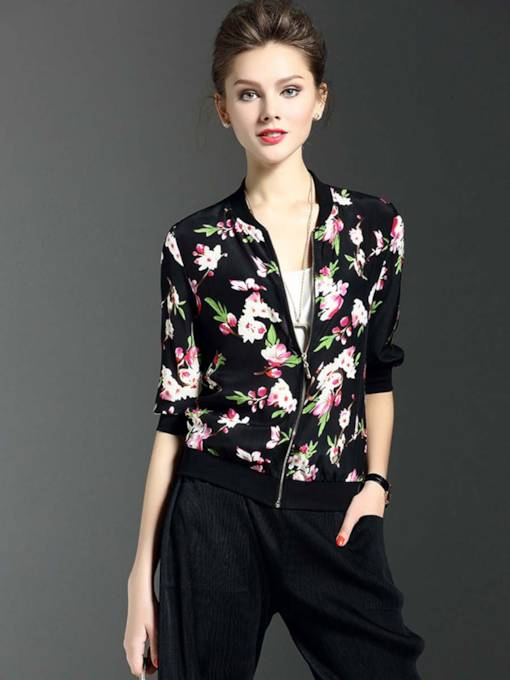 Floral Print Half Sleeve Zipper Women's Jacket