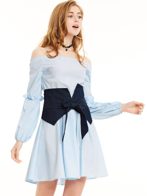Off Shoulder Puff Sleeve Cotton Blends Women's Day Dress