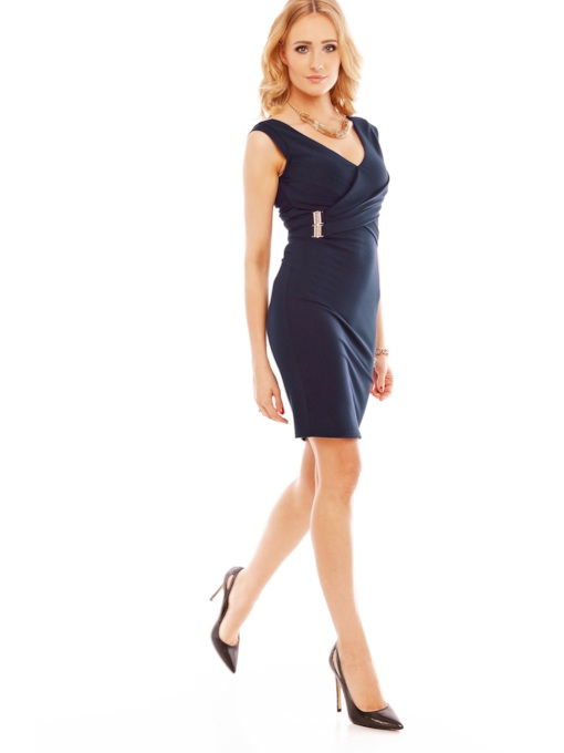 V-Neck Plain Bodycon Zipper Women's Sheath Dress