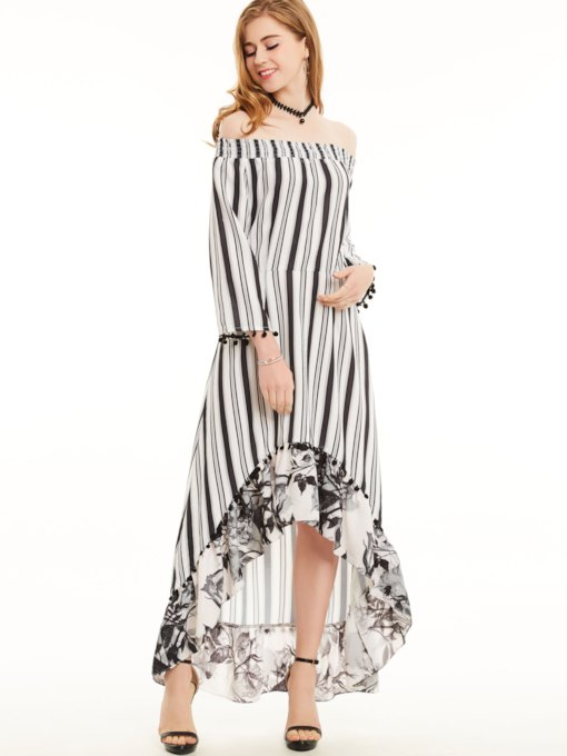Stripe Asymmetric Slash Neck Zipper Flower Print Women's Maxi Dress