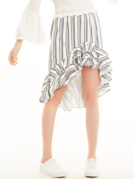 Stripe Falbala Patchwork Asymmetrical Skirt