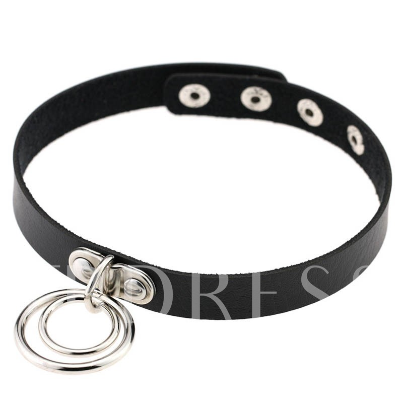 Double Metal Circle Pendant Black Artificial Leather Necklace