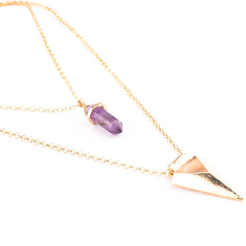Multilayer Triangle & Purple Stone Pendant Necklace