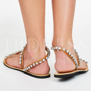 Toe Ring Slip-On Plain Rhinestone Flat Heel Women's Sandals