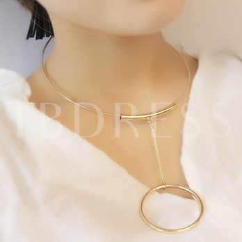 Metal E-Plating Circle Tassels Collar Necklace