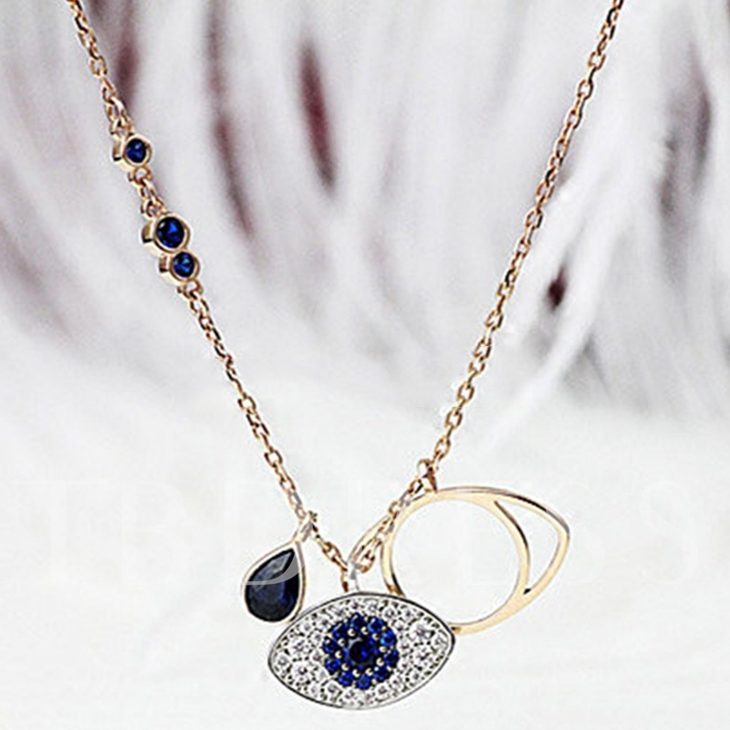 925 Silver Rose Gold Plated Blue Eye Pendant Necklace