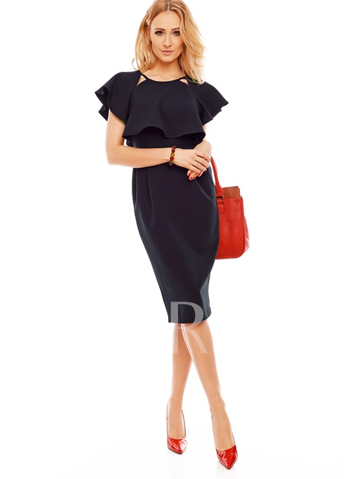 Elegant Short Sleeve Plain Straight Women's Sheath Dress