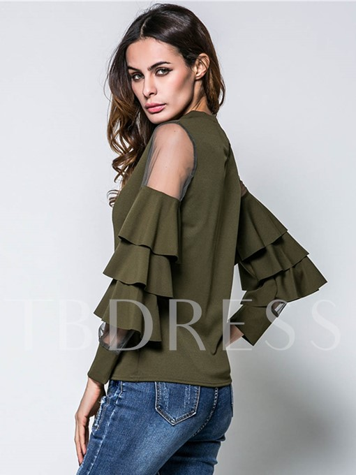 See-Through Shoulder Button Keyhole Heap Sleeve Women's Blouse