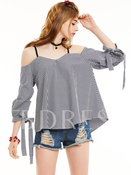 Slim Slash Neck Lace-Up Plaid Blouse