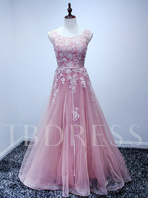 A-Line Appliques Sleeveless Scoop Lace-Up Floor-Length Prom Dress