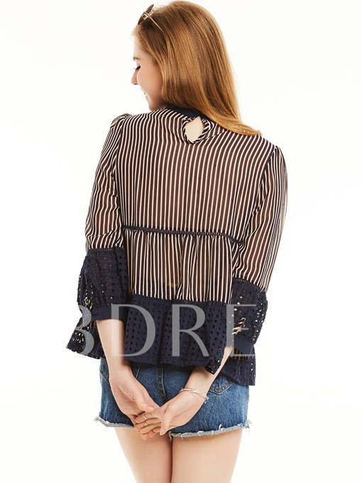Stand Collar Stripe Falbala Patchwork Blouse