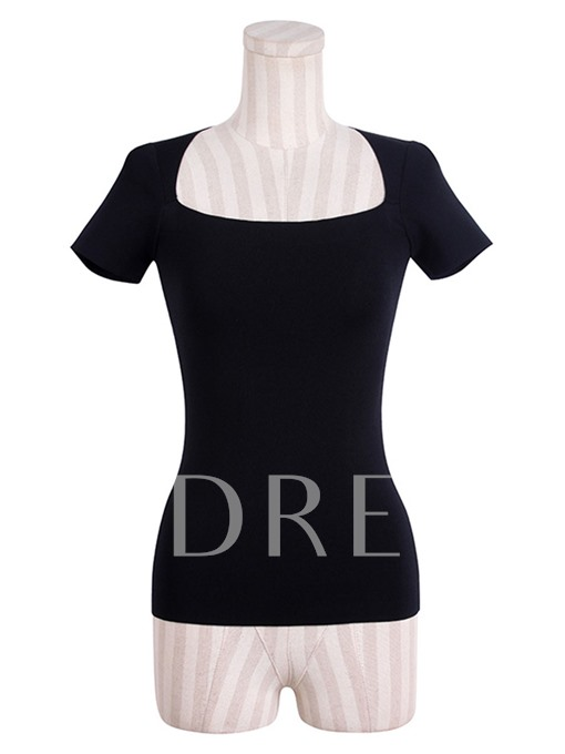 Short Sleeve Square Collar Slim Women's Sweater