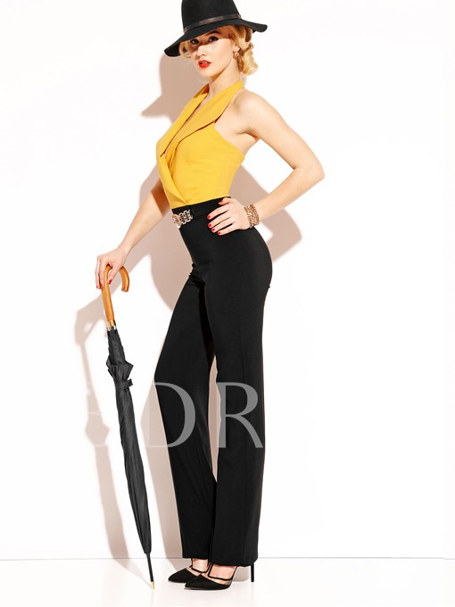 Color Block Backless Belt Women's Jumpsuit