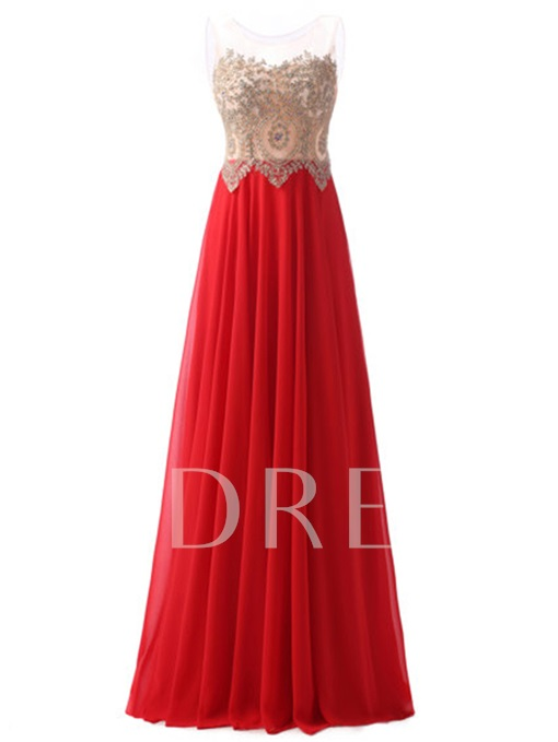 Scoop Appliques A-Line Sleeveless Floor-Length Evening Dress