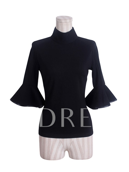 Plain High Neck Bell Sleeve Women's Blouse