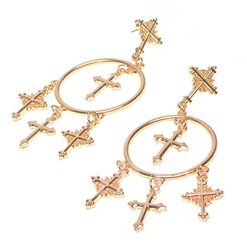Alloy Carved Cross Vogue Tassels Earrings