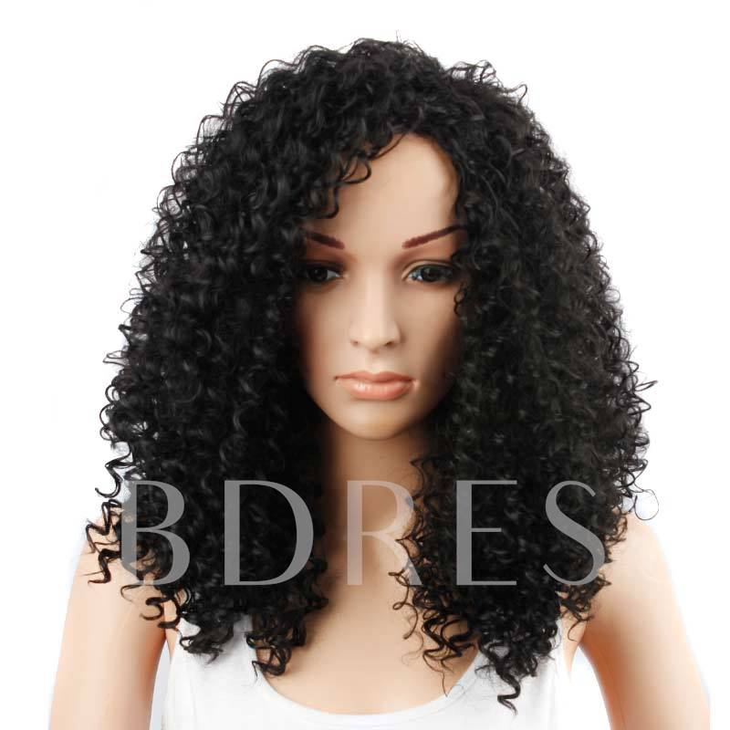 Kinky Curly One Side Part Natural Black Loose Synthetic Hair Long Capless 22 Inches
