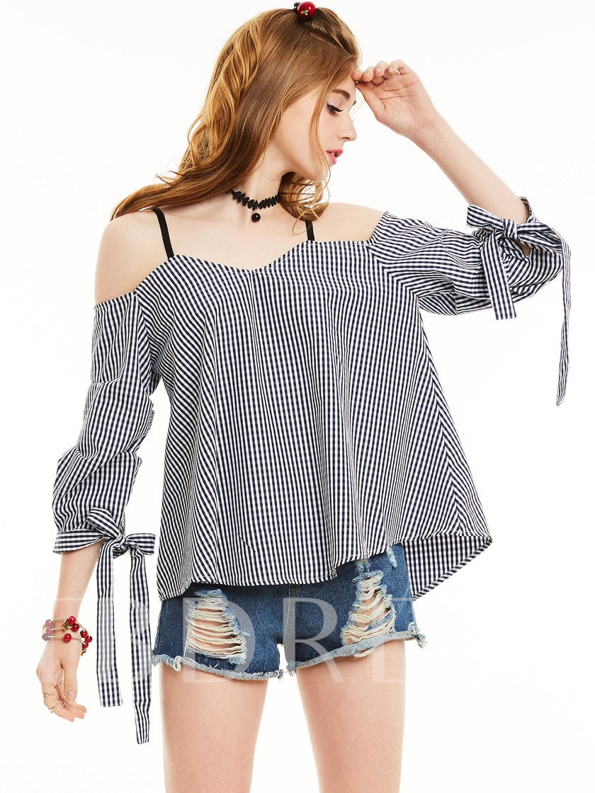 Slim Off Shoulder Lace-Up Plaid Blouse