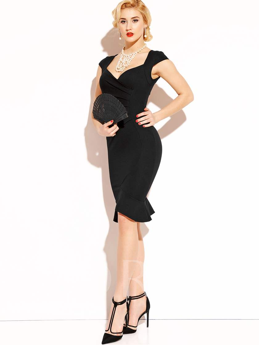 Asymmetric Falbala Pleated Button Backless Women's Sheath Dress
