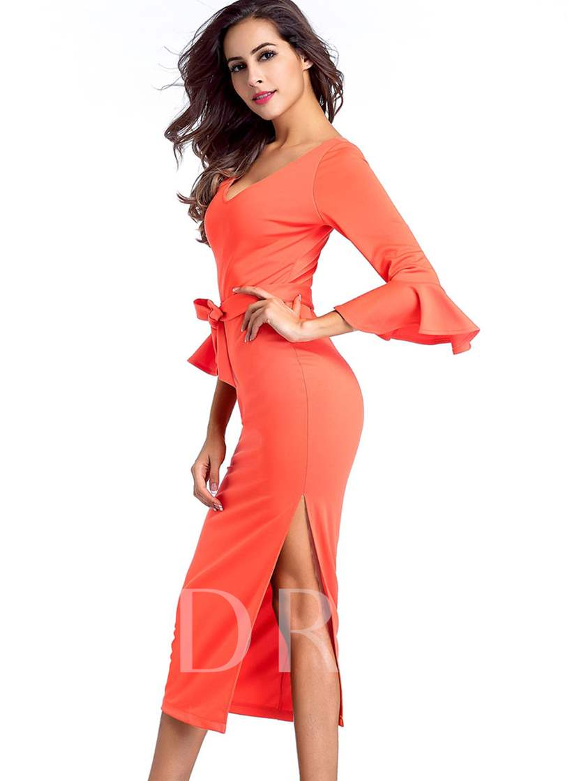 Orange Invisible Zipper Flare Sleeve Women's Sheath Dress