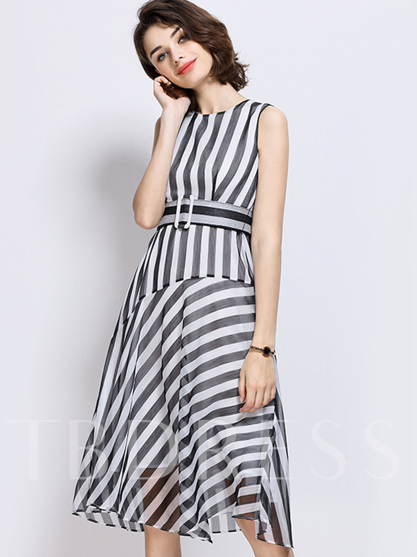 Stripe Expansion Nautical Belt Zipper Women's Day Dress