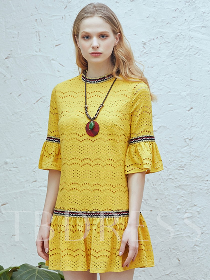 Yellow Half Sleeve Women's Lace Dress