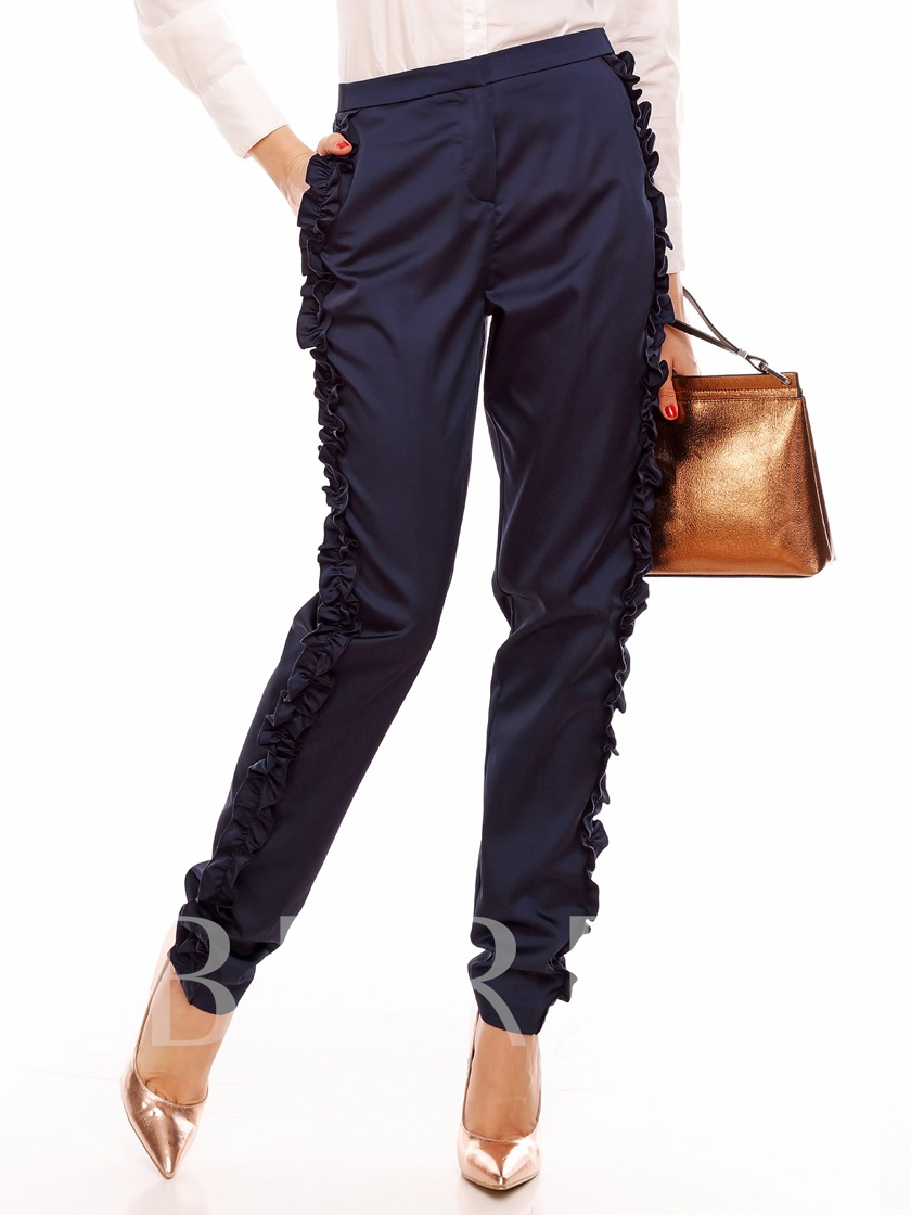 Solid Color Slim Womem's Casual Pants