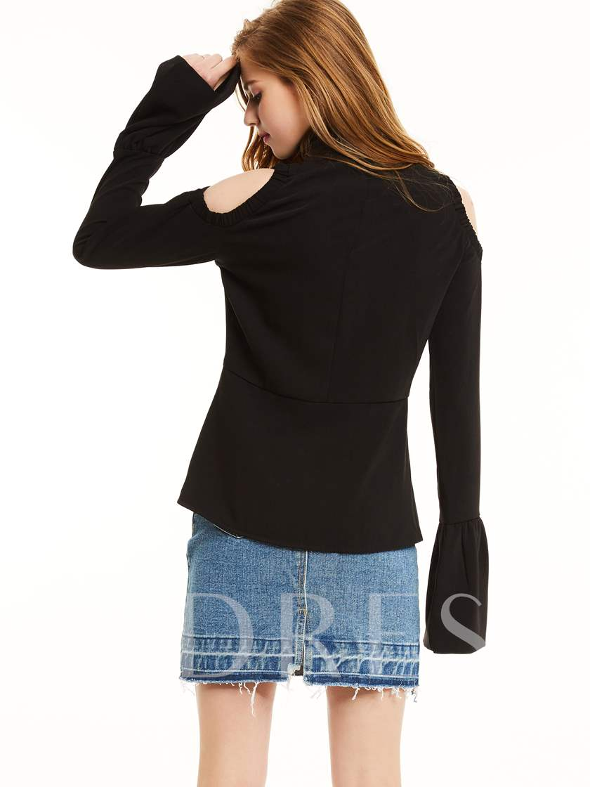 Stand Collar Flare Sleeve Women's Jacket
