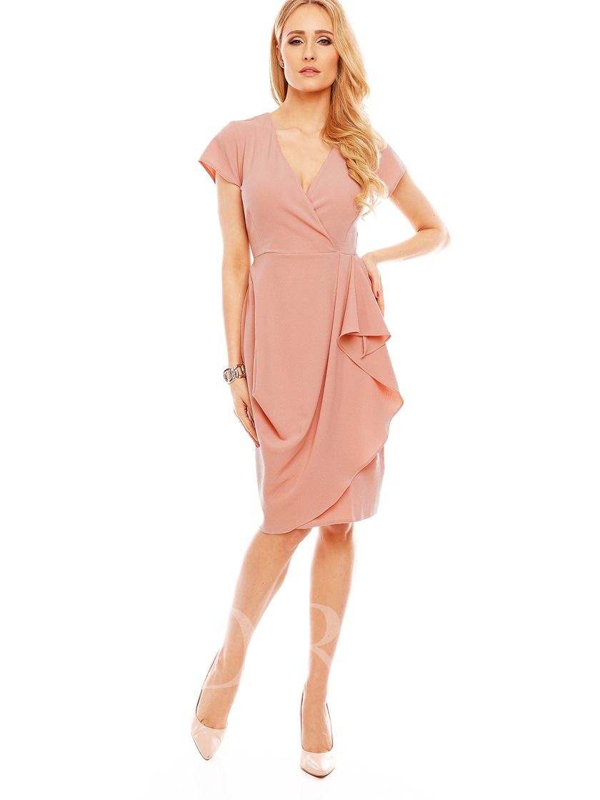 V-Neck Falbala Mid-Calf Plain Women's Sheath Dress