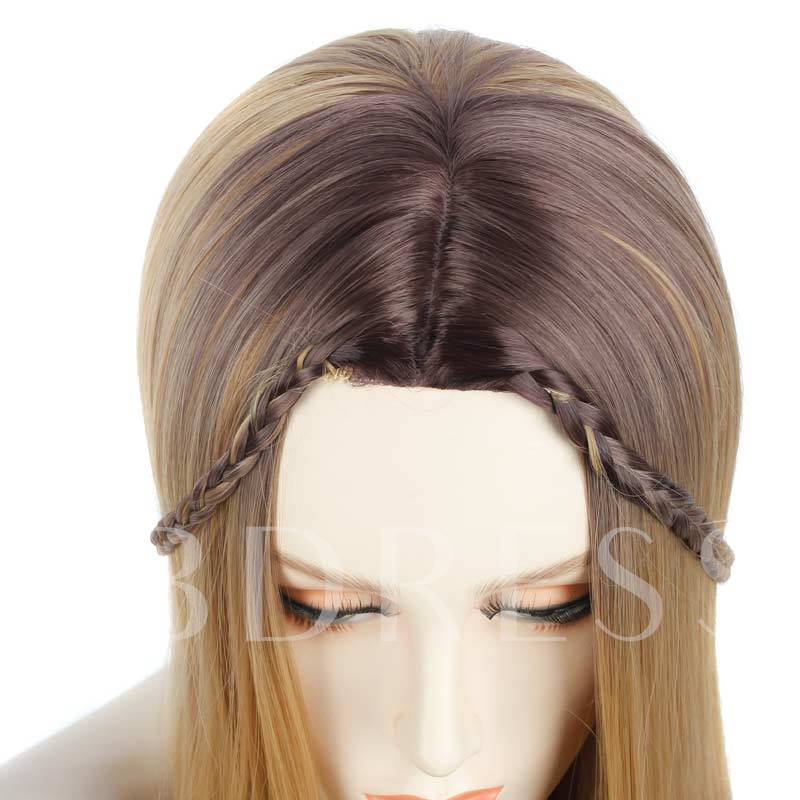 Ombre Long Straight Blonde Elegant Synthetic Hair Capless 28 Inches