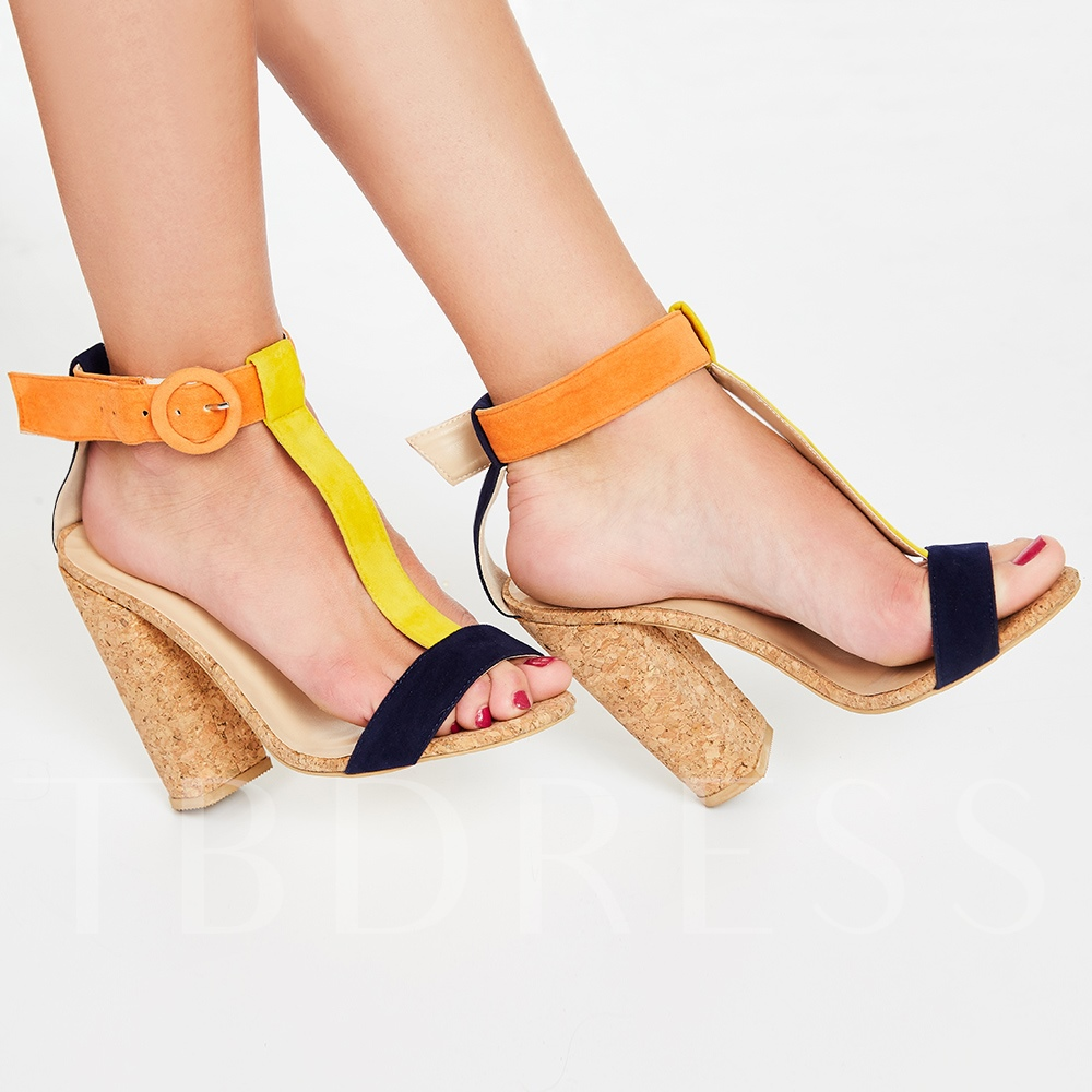 Buckle Suede Color Block Open Toe Women's Sandals