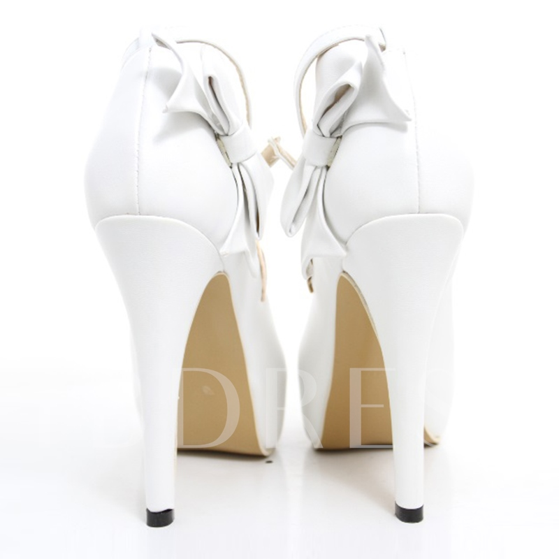 White PU Peep Toe Bowtie High Heel Wedding Shoes