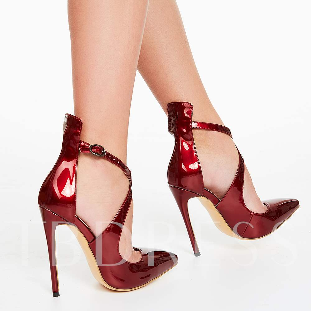 Burgundy Cross Wrap Pointed Toe Stiletto Heel Women's Pumps