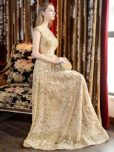 A-Line Cap Sleeves Sashes Scoop Sequins Floor-Length Evening Dress